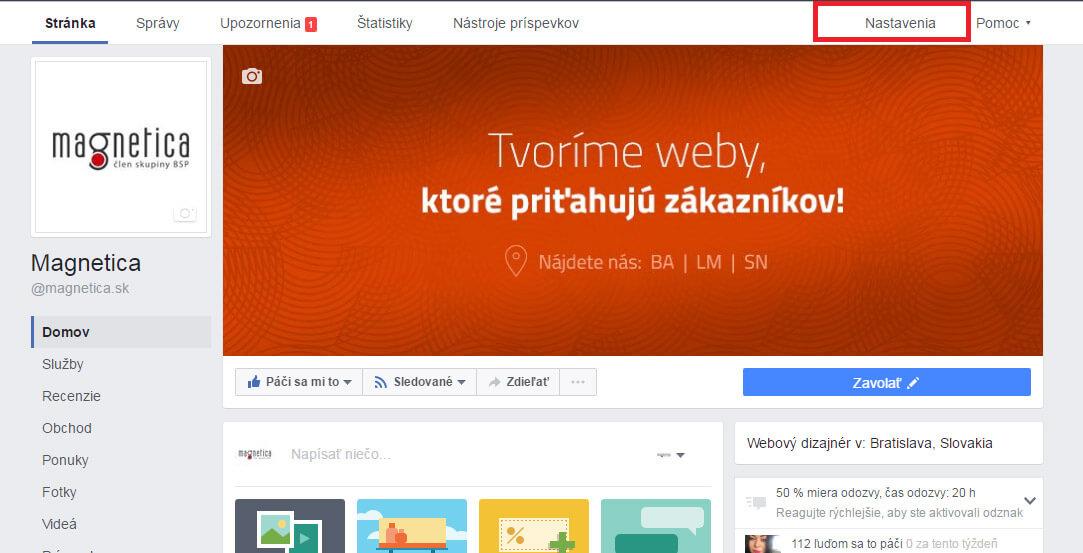 Prístup kvašej Facebook stránke - magnetica.sk