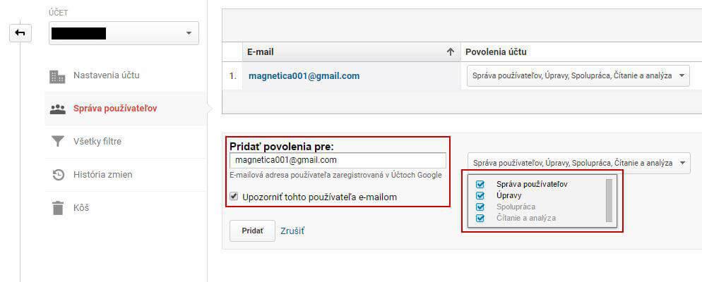 Prístup kvášmu účtu Google Analytics - magnetica.sk