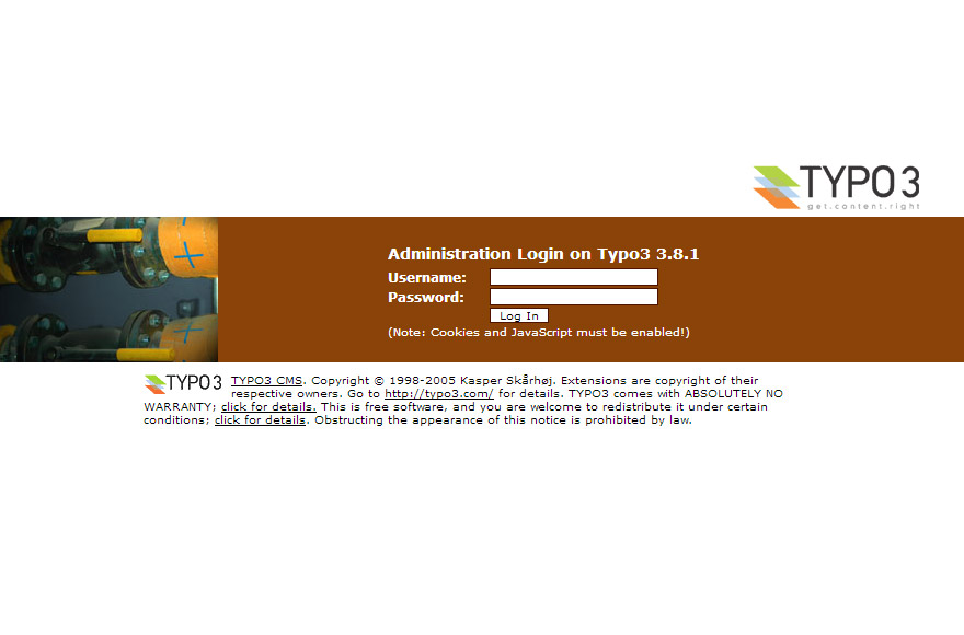 TYPO3 3.8 backend login