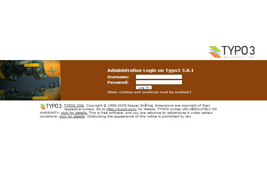 TYPO3 3.8 backend login