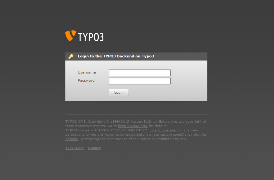 TYPO3 4.5 backend login