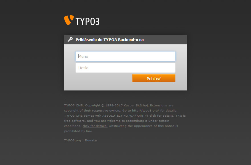 TYPO3 6.2 backend login