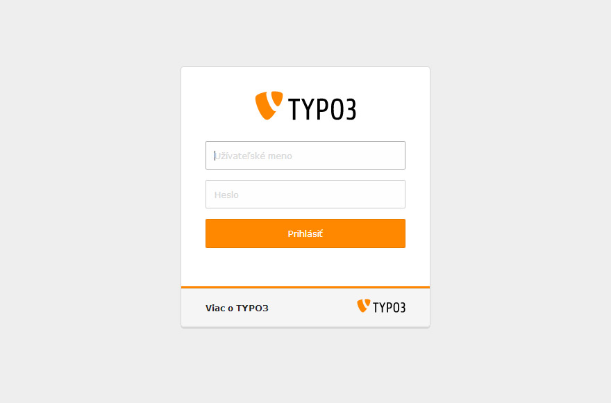 TYPO3 7.6 backend login