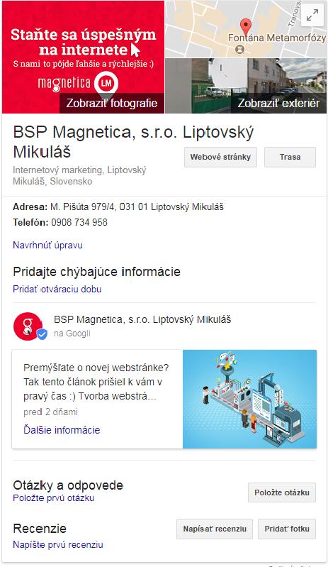 Moja firma naGoogli - magnetica.sk