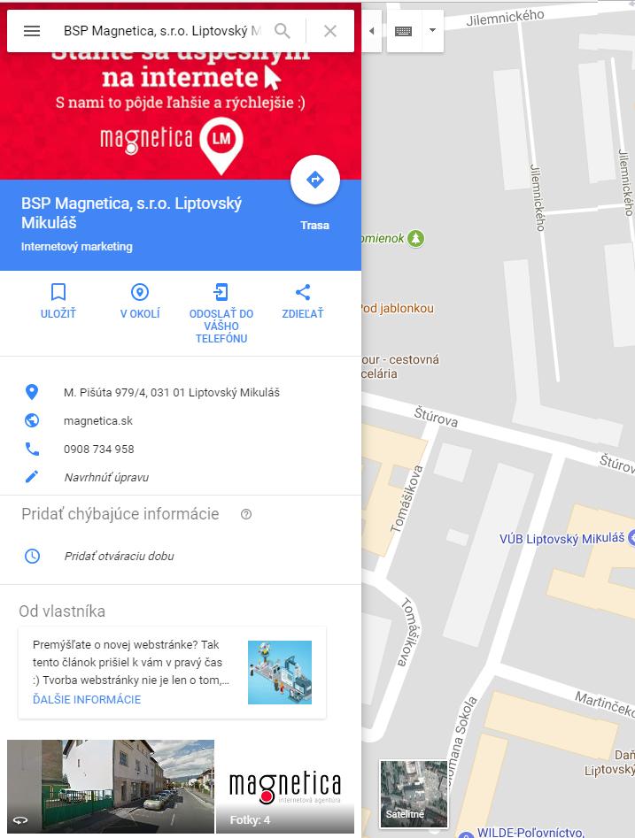 Moja Firma naGoogli (Google Mapy) - magnetica.sk